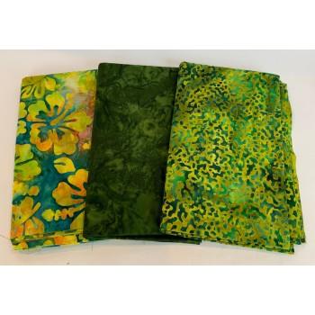 3 Yard Batik Bundle 3YD47 - Green & Yellow Tones