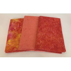 3 Yard Batik Bundle 3YD53 - Peach, Orange and Pink Tones