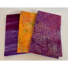 3 Yard Batik Bundle 3YD58 - Purple & Orange Tones
