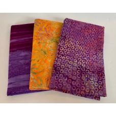 3 Yard Batik Bundle 3YD58 - Purple & Orange Tones