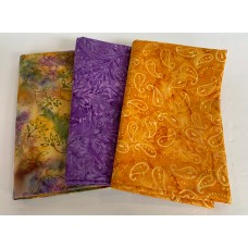3 Yard Batik Bundle 3YD59 - Green, Orange and Purple Tones