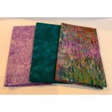 3 Yard Batik Bundle 3YD7 - Teal & Purple Tones with Orange & Gold Accents