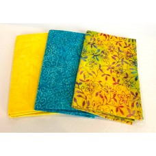 3 Yard Batik Bundle 3YD8 - Yellow & Turquoise Tones