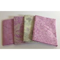 Four Batik Fat Quarters 457 - Purple & Cream Tones
