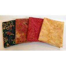 Four Batik Fat Quarters 463 - Orange, Gold, Blue & Green Tones