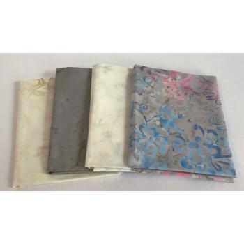 Four Batik Fat Quarters 472 - Gray, Cream, Pink & Blue Tones