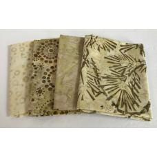 Four Batik Fat Quarters 473 - Tan, Cream & Yellow Green Tones