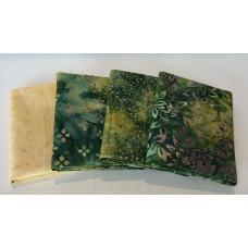 Four Batik Fat Quarters 475 - Green, Cream & Purple Tones