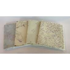 Four Batik Fat Quarters 479 - Lavender, Green, Cream Tones