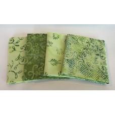 Four Batik Fat Quarters 485 - Green Tones