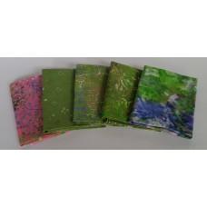 Five Batik Fat Quarters 525 - Green with Pink & Blue Tones