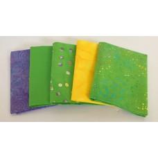 Five Batik Fat Quarters 532 - Green, Purple & Yellow Tones