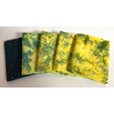 Five Batik Fat Quarters 535 - Yellow & Blue Tones