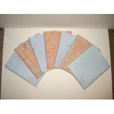 Seven Batik Textiles & Anthology Batik Fat Quarters 701 - Peach & Light Blue Tones