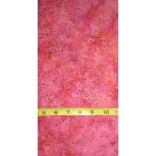 Anthology Batik 7047 - Small Yellow & Tan Floral Pattern on a Pink Background