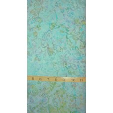 Anthology Batik 9012 - Blue & Green Floral Pattern on a Light Turquoise & Lavender Background