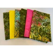 Six Batik Fat Quarters 674 - Green, Yellow & Pink Tones