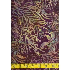 Island Batik Neptune's Friends 111903390 Turtles on Burgundy with Yellow and Green