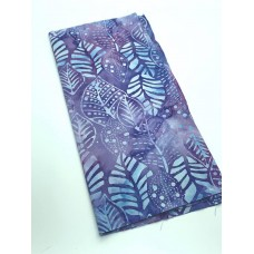 REMNANT - Anthology Turquoise Leaves on Purple - 1/3 yd