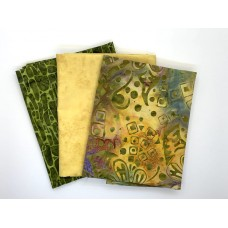 Three Batik Fat Quarters 394B - Yellow Green & Purple Tones