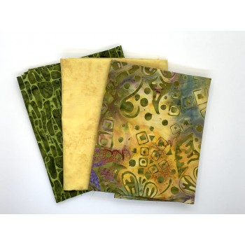 Three Batik Fat Quarters 394B - Yellow Green & Purple Tones