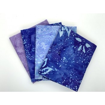 Batik Half Yard Bundle HY431 -Blue Turquoise & Purple - 2 Yards Total