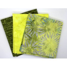 Batik One Third Yard Bundle OT312 - Yellow & Green Tones - 1 Yard Total