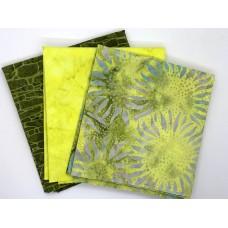 Batik One Third Yard Bundle OT312 - Yellow & Green Tones - 1 Yard Total