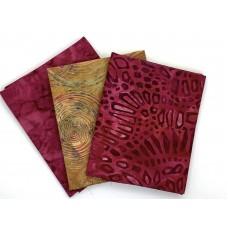 Three Batik Fat Quarters 393B - Maroon and Brown Tones
