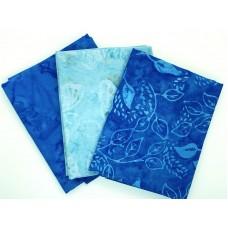Batik Half Yard Bundle HY372 - Blue Turquoise - 1.5 Yards Total
