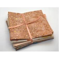 Batik One Third Yard Bundle OT501 - Coral Pink & Green Tones - 1 2/3 Yards Total