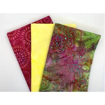 3 Yard Batik Bundle 3YD138 - Green Yellow Red
