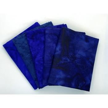 Batik Half Yard Bundle HY520 - Blue Navy Dark Teal - 2 1/2 Yards Total