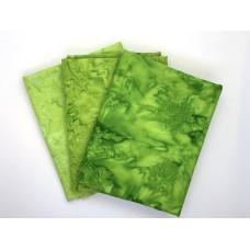 Batik Half Yard Bundle HY375 - Lime Green - 1.5 Yards Total