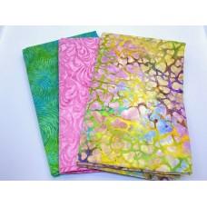 3 Yard Batik Bundle 3YD176 - Green Pink Purple