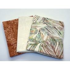 Batik Half Yard Bundle HY390 - Tan Brown Green - 1.5 Yards Total