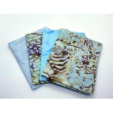 Four Batik Fat Quarters 411A - Turquoise Tone Blenders