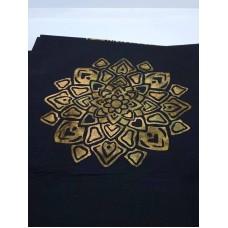 BOLT END - Hoffman Batik Gold Emblems on Black - 1 yd