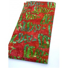 REMNANT - Robert Kaufman Holiday Moments Metallic -  Green Christmas Trees on Red - 1/3 yd