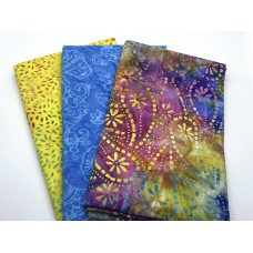 3 Yard Batik Bundle 3YD173 - Multicolor Yellow Turquoise