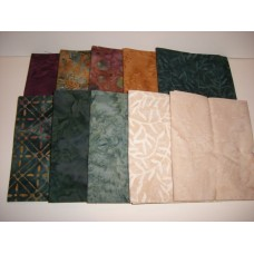 10 Batik Textiles Fat Quarter Bundle BT10FQ2 - Autumn Tones