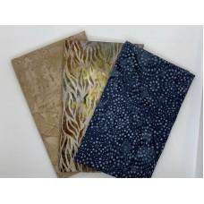 3 Yard Batik Bundle 3YD85 - Denim blue, brown - green - yellow and tans