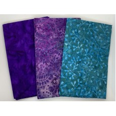 3 Yard Batik Bundle 3YD96 - Purple, Lavender, Turquoise