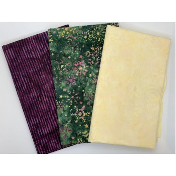 3 Yard Batik Bundle 3YD97 - Tan, Green, Burgundy stripes and snowflakes