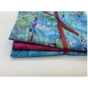 Three Batik Fat Quarters 360B - Turquoise and Fuchsia Tones