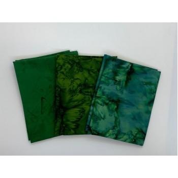 Three Batik Fat Quarters 361B - Dark Green Blenders