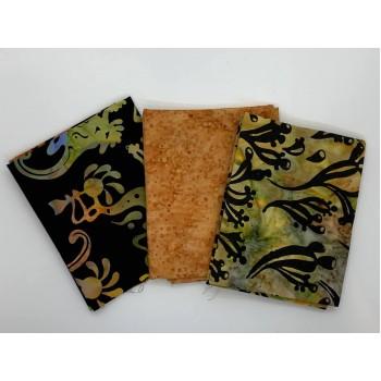 Three Batik Fat Quarters 352B - Black Orange Green Tones