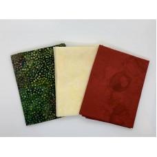Three Batik Fat Quarters 357B - Green, Cream & Red Tones
