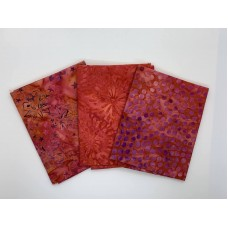 Three Batik Fat Quarters 366B - Red Pink Purple Tones