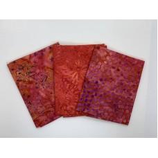 Three Batik Fat Quarters 366B - Red Pink Purple Tones